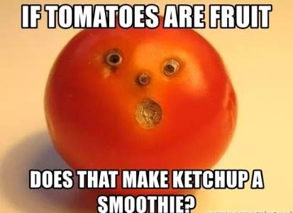 if tomatoes are a fruit does that make ketchup a smoothie